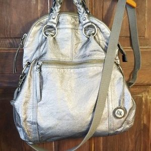 The Sak silver fold over bag crossbody